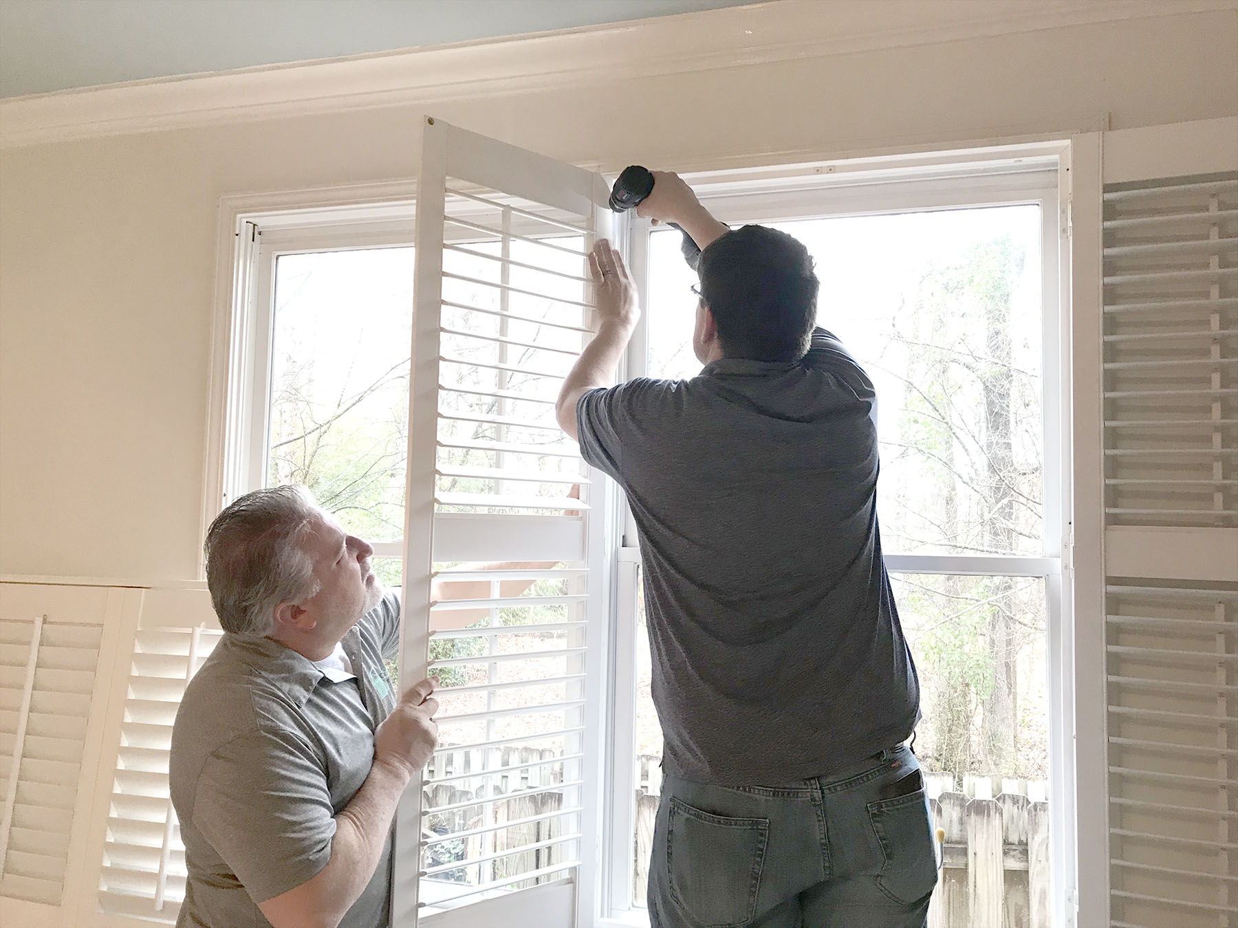 Custom Blinds Crew Removing Shutters for Painting