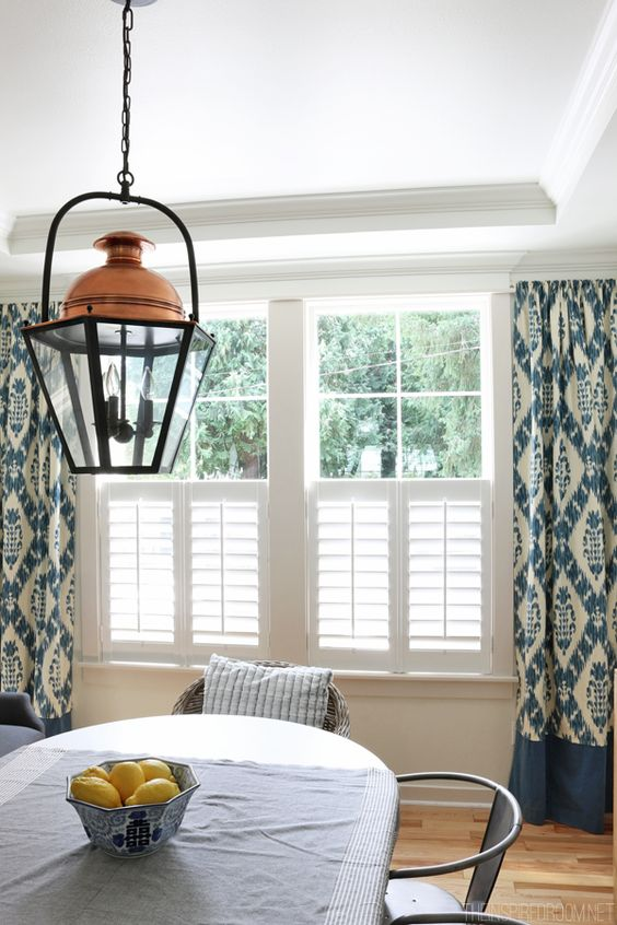 Layered Look: Half shutters and Ikat curtains