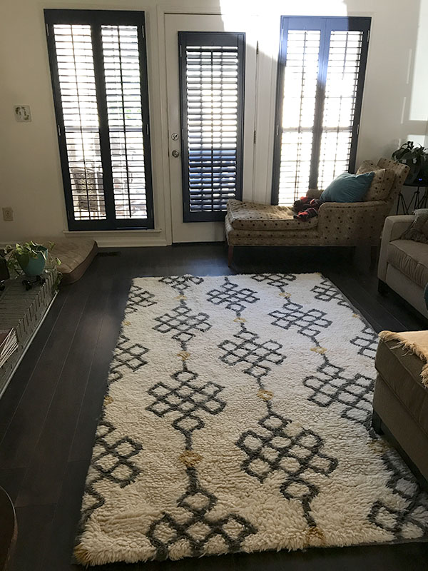 New shutters in Cahaba Heights den after room transformation