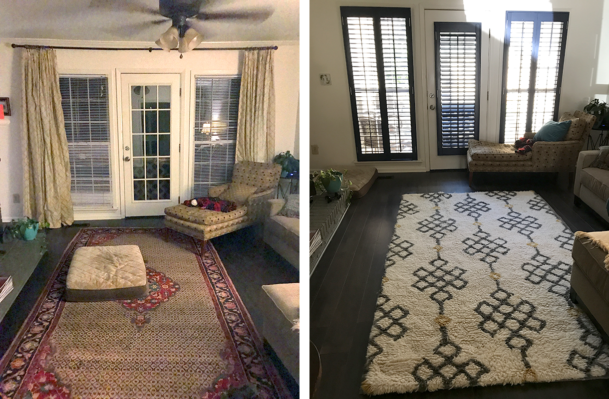 Side-by-Side View of the Before and After Transformation at Cahaba Heights den