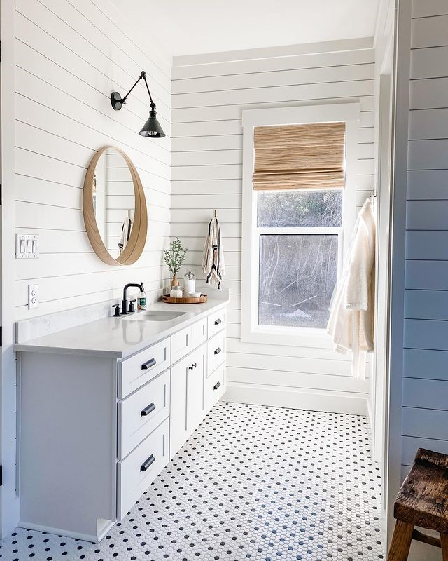 All White Room with Woven Wood Shades