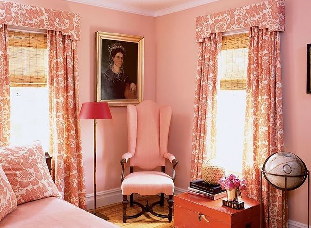 Woven Wood Shades in a Pink Room